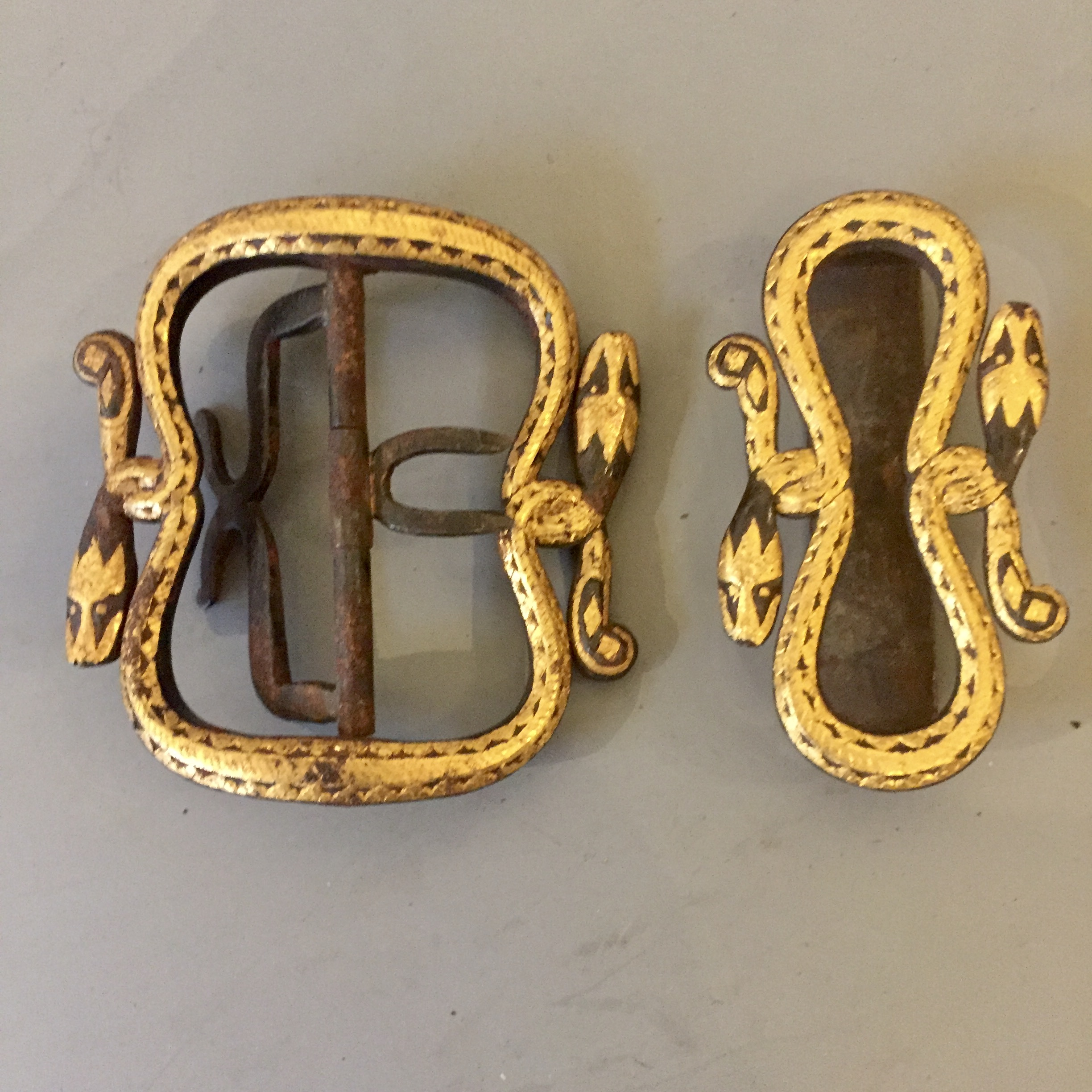 Antique Javanese golden Belt buckle and slid