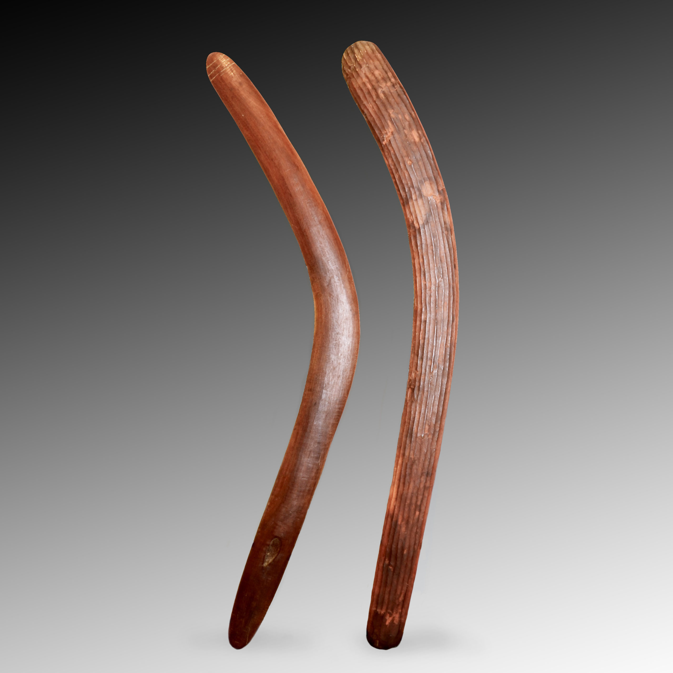 Two Aboriginal boomerangs.